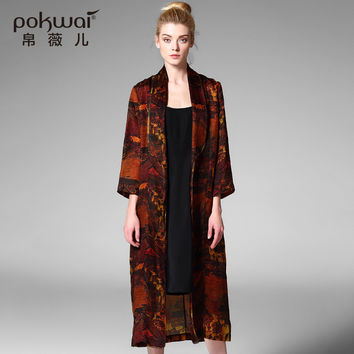 POKWAI Fashion Long Silk Trench Women 2017 Brand Windbreak Print Open Stitch Wind Coat Wide-Waisted Out Wear Vintage Dust Coat