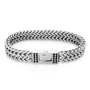 Double Chevron - Unisex Stainless Steel Italian Chain Bracelet With Black CZ Set Clasps
