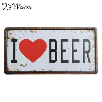 Fashion Clean simple and Colorfast I LOVE BEER License Retro Plate Vintage Metal Tin Sign Wall Tavern Home Pub Poster Decor
