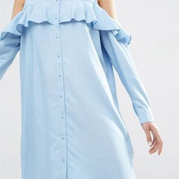 Streetstyle  Casual Light Blue Ruffle Single Breasted Turndown Collar Off-shoulder Cute Mini Dress