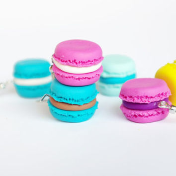 French Macaron Earrings, Polymer Clay Food Earrings, Polymer Clay Food Earrings