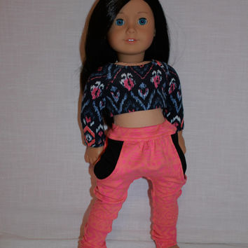 18 inch doll clothes, Harem, dance, yoga pants , navy crop top, american girl, maplelea