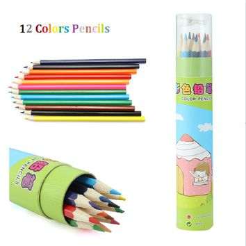 12 Pcs/Pack Lovely Cartoon Colored Pencil New Wooden Painting Colored Pencils For Children