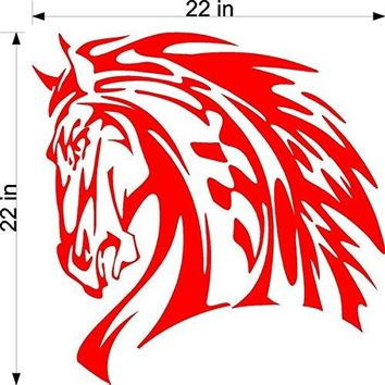 Thoroughbred Horse Equestrian Tribal Animal Flames Motor Cross Street Track Motorcycle Racing Trailer Decals Stickers Mural One Color 2 Graphics AF25