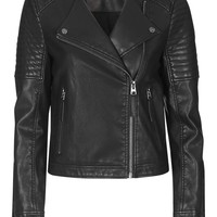 Quilted Faux-Leather Biker - Topshop