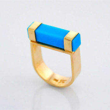 Sleeping Beauty Turquoise 14K Gold Ring Geometric Bar