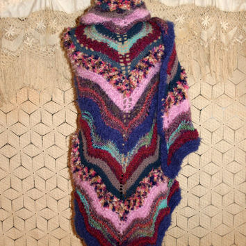 Large Shawl Unique Hand Knit Triangle Shawl Hippie Boho Witchy Woman Stevie Nicks Blue Purple Warm Prayer Shawl Plus Size Clothing Gift Idea