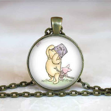 Vintage Winnie the Pooh Necklace Pooh Jewelry Glass Tile Pendant Winnie Pooh Gift Vintage Pooh Bear