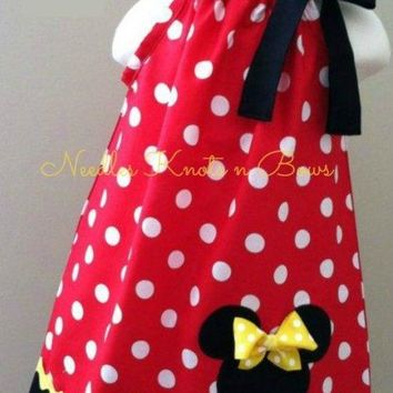 Girls Minnie Mouse Pillowcase Dress, Minnie Mouse Birthday Dress, Disney Vacation Dress, Baby Girls Dress