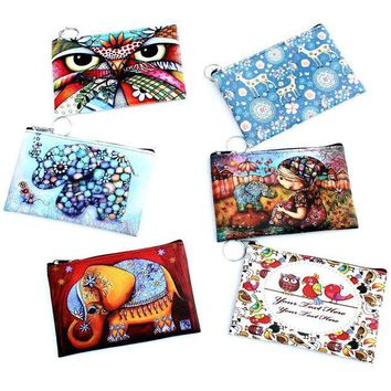 CREYONHS Owl Elephant giraffes Print coin purse,Ladies clutch change purse,Women cartoon zero wallet,Female Zipper coins bag wallet pouch