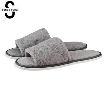 Senza Fretta New Men Shoes Slippers Home Bedroom Soft Slippers Home Indoor Sweat Non-slip Striped Cotton Slipper Shoes Size 43