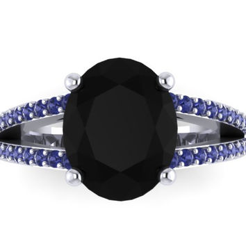 Black Diamond  Blue Sapphire Engagement Ring 14K White Gold Engagement Ring with Oval 10x8mm Black Diamond Center - V1099