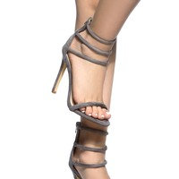 Grey Faux Suede Multi Strap Single Sole Heels @ Cicihot Heel Shoes online store sales:Stiletto Heel Shoes,High Heel Pumps,Womens High Heel Shoes,Prom Shoes,Summer Shoes,Spring Shoes,Spool Heel,Womens Dress Shoes