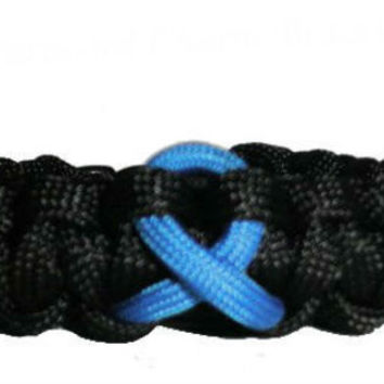 Colon Cancer Blue Awareness Ribbon Paracord Bracelet