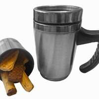 Stainless Steel Travel Mug + Cookie Keeper Secret Storage with Handle & Unique Extra Compartment Cup for Extra Tea, Infuser, K-cup or Cookies -Easy to Clean - Keep Your Coffee, Tea, or Cocoa Hot for Hours - Snack Holder
