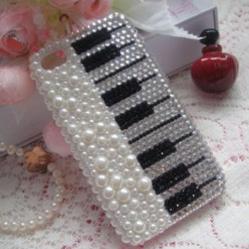 Pearl Diamond Piano DIY deco phone case kit  by MegaSuperStore