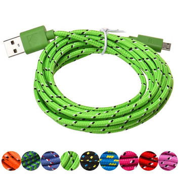 USB Charger Cable 1M Hemp Rope Micro USB Charger Sync Data Cable Cord for Cell Phone For xiaomi SZ0213