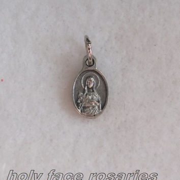 Mini Blessed Virgin Mary Pray For Us Medal Super Tiny Oval Silver Oxidized Metal Religious Charm Pendant