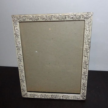 Vintage Antiqued Ornate 8 x 10 Whitewashed Silver Tone Metal Picture Frame - Floral Design - Hollywood Regency/Shabby Chic