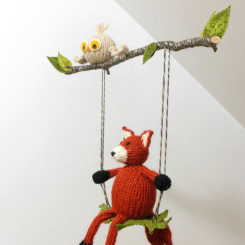 Woodland Mobile, Fox and Owl Baby Mobile, Fox on a Swing, Owl Woodland, Boy Girl Baby Nursery, Waldorf, Natural Fibers, Orange