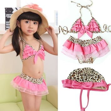New Arrival Baby Girl Kids Toddler Swimsuit Bikini Swimwear Pink Leopard Tutu Bikini Sets B2C Shop