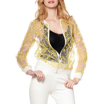 Floral Organza Fabric Bomber Jacket J19565