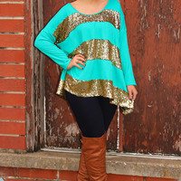 Have You Figured Out Top: Turquoise/Gold