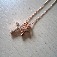 rose gold necklacerose gold cross necklacerose gold by Viviens
