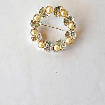 Vintage Circle Pin Pearl Circle Brooch Vintage Jewelry Pearl Brooch Pin Rhinestone Brooch