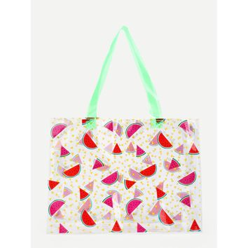 Watermelon Print Clear Tote Bag - Purse - Large Bag - Beach Bag