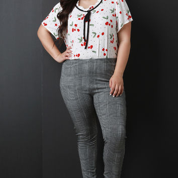Plus Size Ruffle Collar Cherry Print Top | UrbanOG
