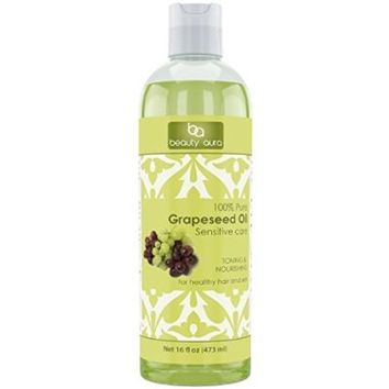 Beauty Aura 100% Pure Hexane Free Grapeseed Oil, 16 Fluid Ounce