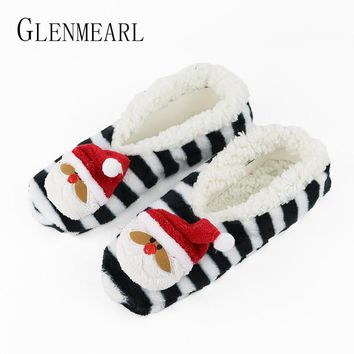 Santa Claus Women Slippers Animal Winter Warm Soft Indoor Slippers Home Shoes Flat Non-Slip unicorn Slippers Chirstmas Gift3-35