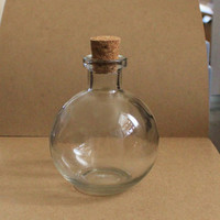 Round Crystal Clear Glass Potion Bottle with Cork 8.5 oz Perfect LARPing / Cosplaying Item