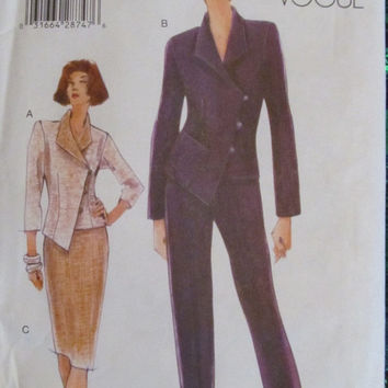 SALE Uncut Vogue Sewing Pattern, 9956! Size 8-10-12, Small to Large, Women's/Misses, Jackets/Pants/Skirts, Summer/Spring/Fall/Winter, Coutur