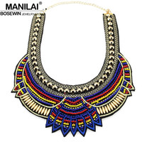 MANILAI Fashion Hand Made Ethnic Choker Necklace Bib Collares Multicolor Beads Boho Statement Jewelry Women Accessories