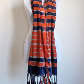 Chunky  Wrap Scarf , Turkish handwoven Scarf wrap, Handcrafted, Aztec Tribal Print Scarf Shawl , Fringed, Orange, Dark blue, Women's Scarves