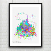 Disney Princess Castle Watercolor Print, Baby Girl Princess Room Art, Minimalist Art Print, Home Decor, Not Framed, Buy 2 Get 1 Free!