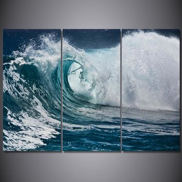 3 piece print Ocean Wave - 3 panel print picture on canvas framed UNframed