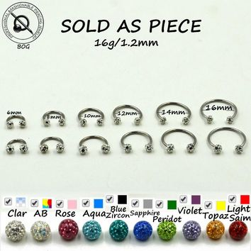 1Pc Crystal Ferido Balls Circular Barbell Horseshoe CBB Septum Rings Nose Lip Labret Tragus Body Piercing Jewelry Earring 16g