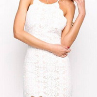 White Backless Lace Mini Dress
