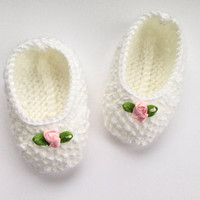 Baby Ballet Pumps / Baby Shoes.  Handknitted White Pink Flower Booties. Newborn. New Baby Girl Gift. Baby Shower Gift. Christening Shoes.