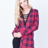 Laced in Plaid Tunic