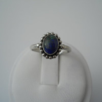 Sterling Silver 925 Azurite Ring Oval Bead Blue Green Stone Size 8 FAS 925 #3