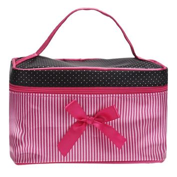 1PCS Portable Travel Toiletry Bow Stripe Makeup Cosmetic bolsa Organizer Holder Handbag use for make up Set Kits