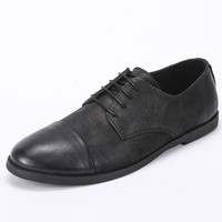 2016 Classical Men Dress Flat Luxury Men's Business Oxfords Casual Shoe Black Leather Derby Shoes