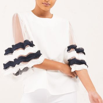 Chiffon Blouse with Mesh Sleeves and Navy Stripes in White
