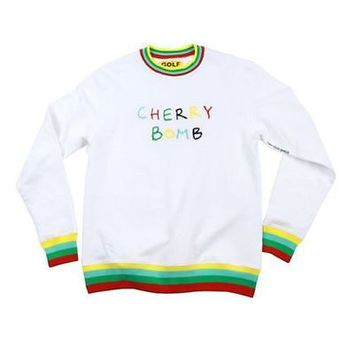 Golf Wang Cherry Bomb White Long Sleeves Crew Neck Medium M  Odd Future