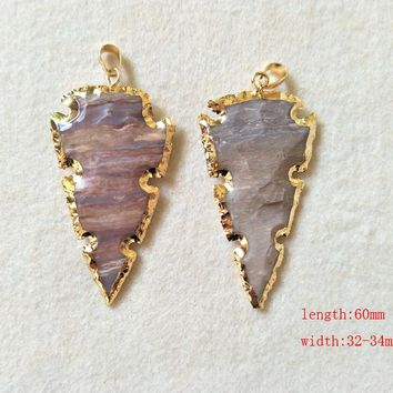 5 pcs Natural indialite Carved Arrowhead Druzy Pendant,Gold color Rough Bead Gems Stone indialite Necklace Jewelry Making P224