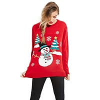 Warm Loose Women Christmas Sweater Long Sleeve Knit Sweaters and Pullovers femme Winter Clothing Red Amazing